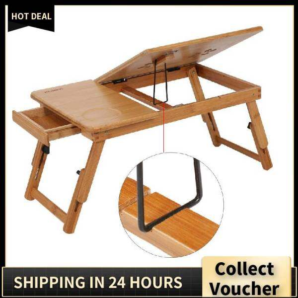 Jumpjump Portable Folding Bamboo Bed Laptop Desk Adjustable Lap Notebook Table Stand Tray with Drawer