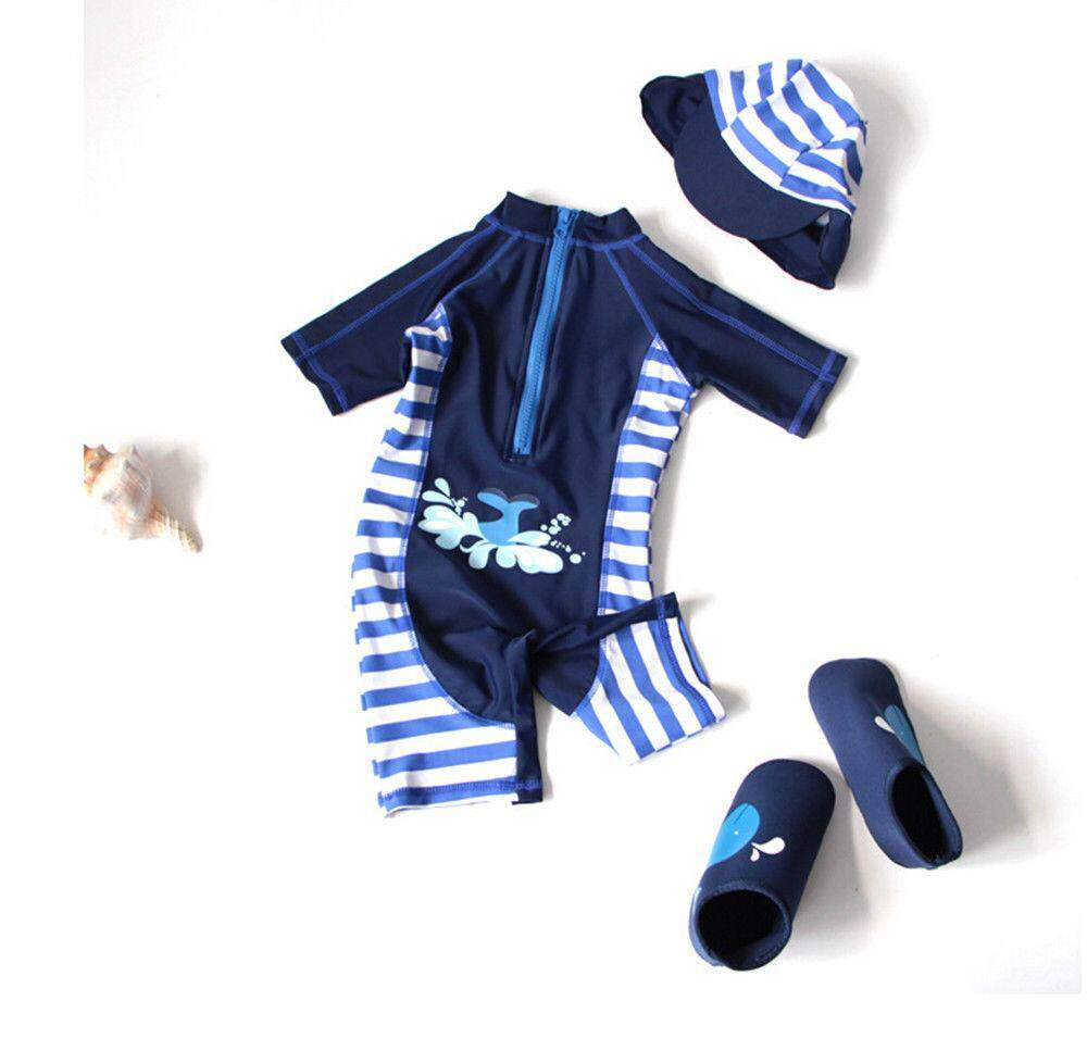 New Kid Boy Girl Beatch Soft Swimwear Rash Guard Swimsuit+hat Girl 1-7y Swimming(not Include Shoes) By Sugarbabies.