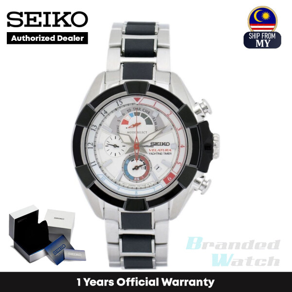 [Official Warranty] Seiko SPC145P1 Mens Velatura Yachting Timer Chronograph Silver Black Two-Tone Stainless Steel Strap Watch (watch for men / jam tangan lelaki / seiko watch for men / men watch) Malaysia