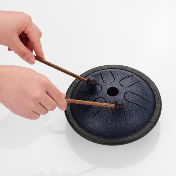 Trống lưỡi thép Mini 5.5 inch 6 ghi chú handpan trống thép Bỏ Túi nhạc cụ gõ với mallets túi đựng để Thiền Yoga zazen