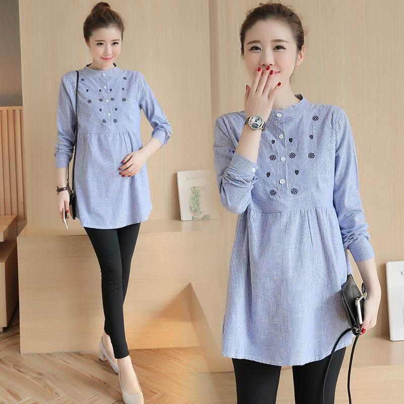 Korea Musim Semi Musim Gugur Fashion Bersalin Lengan Panjang Gaun Ibu Hamil Kaus Blus