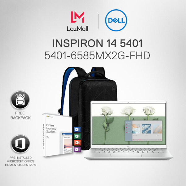 [New] DELL INSPIRON 14 5401 (5401-6585MX2G-FHD) LAPTOP PLATINUM SILVER (i7-1065G7 /8GB/512GB SSD/14.0  FHD/NVIDIA GeForce MX330 2GB GDDR5/W10/2YRS) +Pre-installed Microsoft Ofice Home & Student 2019 + BACKPACK Malaysia