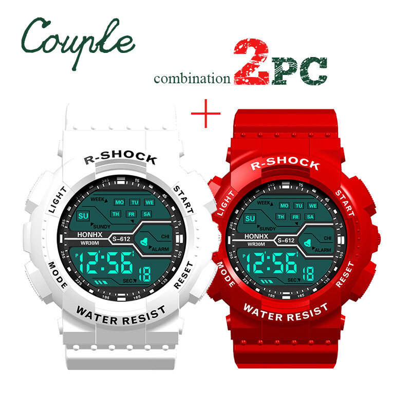 [BDAY SALE] Valentines day gift Sports Electronic Watch Girl and Mens Digital Wristwatch Car Cartoon Watch 2pc Malaysia