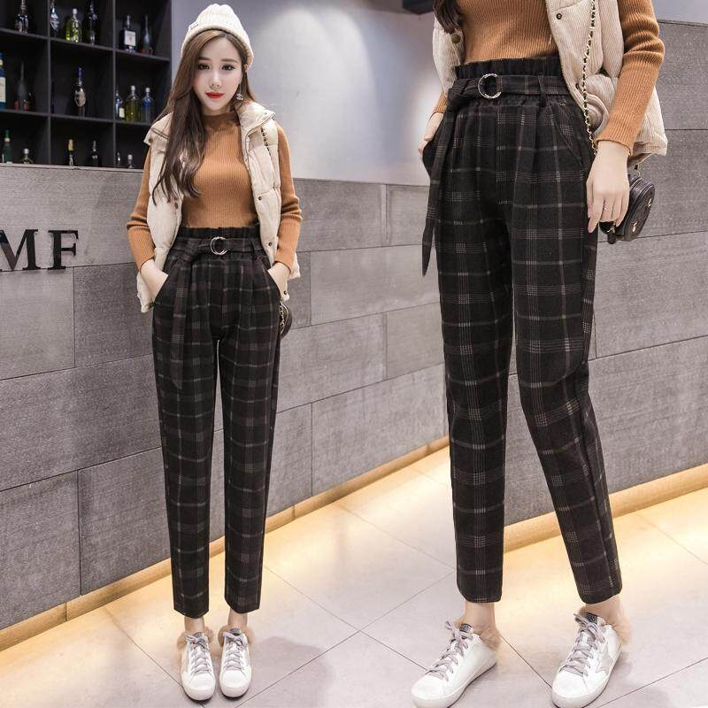 Weania Korean Ol High Waist Plaid Ankle Pants Female Spring Autumn Hairy Pocket Trousers By Weania.