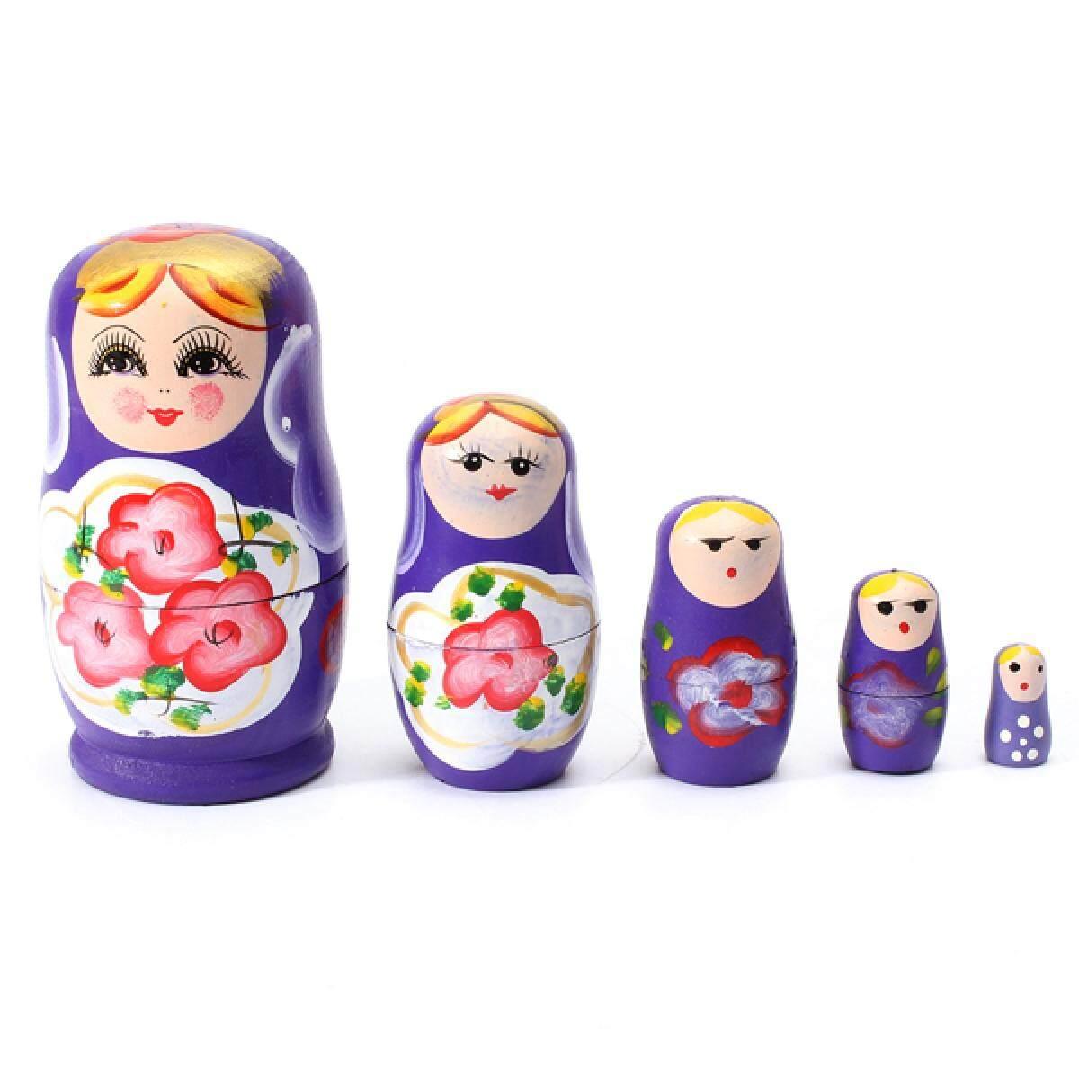 1 ชุด 5 Pcs Matryoshka รัสเซียตุ๊กตาของเล่นตุ๊กตาไม้เด็กของเล่นสีม่วง By Rkpujis.