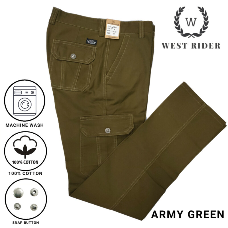 WEST RIDER HEAVY DUTY WORKING PANTS / CARGO PANTS / SELUAR KERJA 1088 - ARMY GREEN