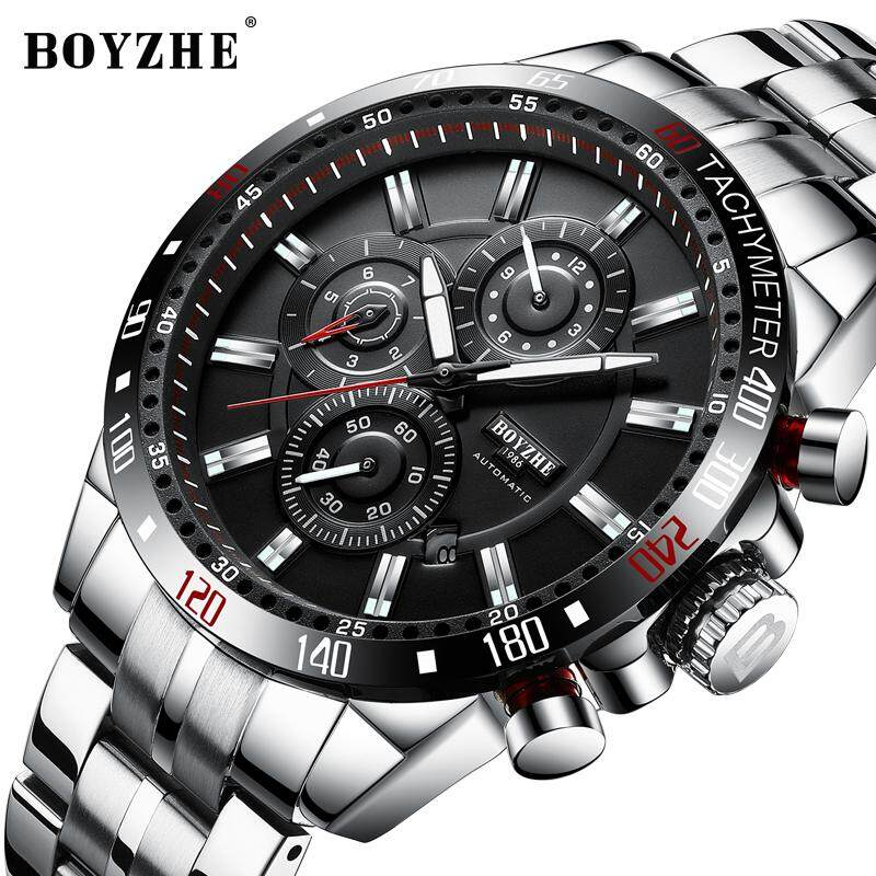 2019New BOYZHE Men Automatic Mechanical Fashion Top Brand Sport Watch Man Luminous Military Stainless Steel Watches Malaysia