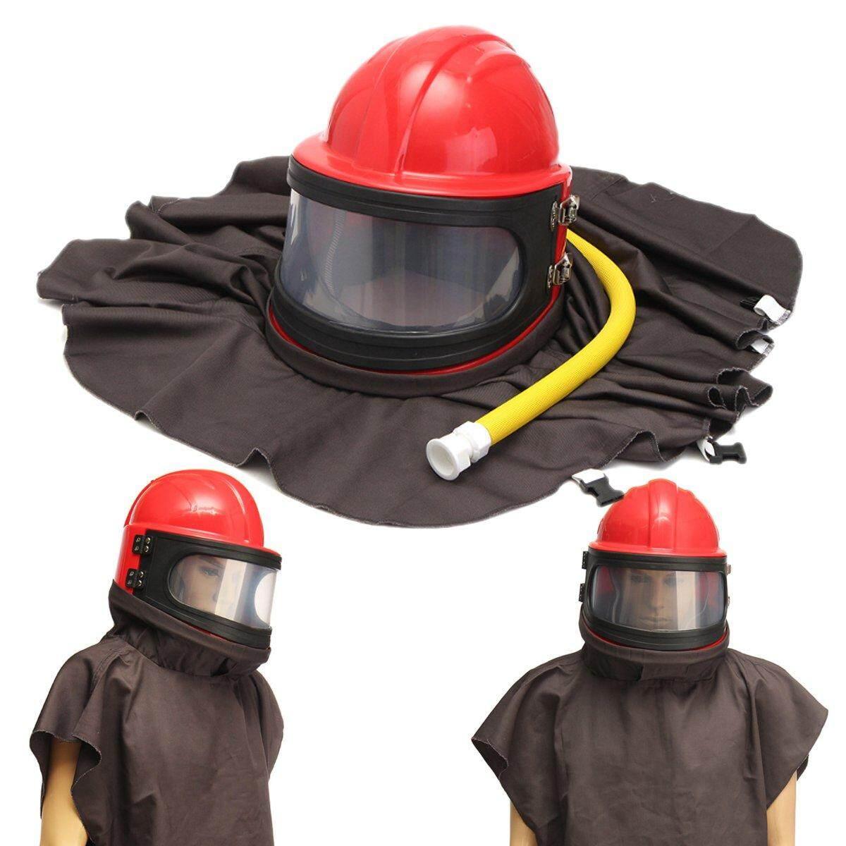 Full Face Sandblast Sandblasting Mask Helmet Sand Blasting Protector w/ Pipe