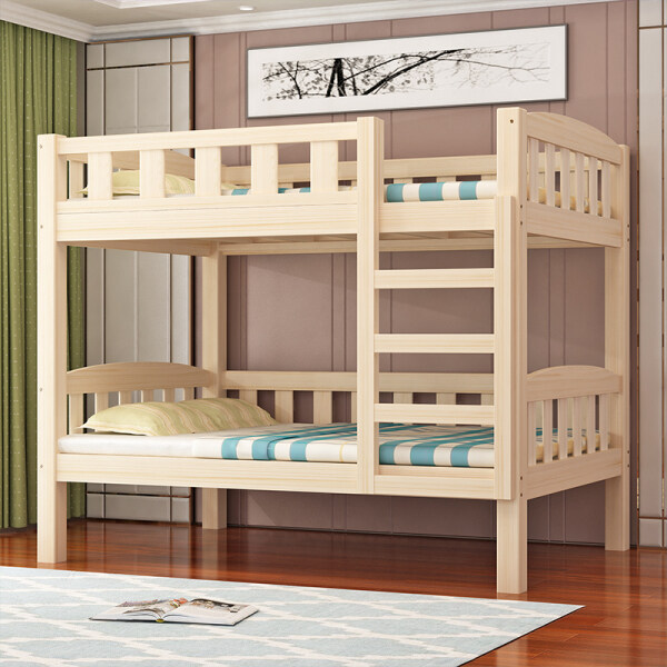 Solid Wood Bunk Bed Adult Children Bunk Bed Double Layer Combined Bed san ceng chuang with Guardrail Detachable Tow Bed