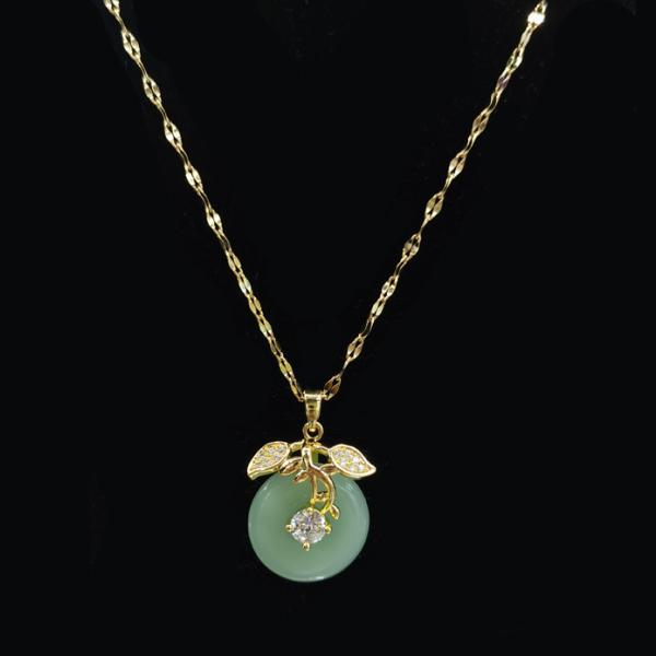 Mặt dây chuyền ngọc Hetian Màu xanh tự nhiên của Yuki Vòng cổ Phượng Hoàng bằng thép titan vòng cổ ngọc bích Trung Quốc bùa hộ mệnh thời trang quà tặng trang sức vòng cổ cho phụ nữ