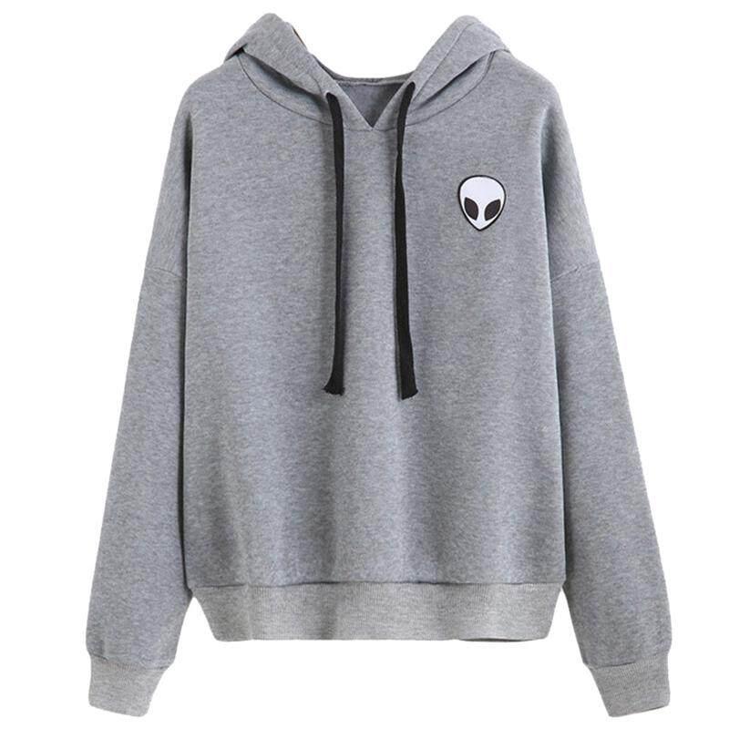 cce8aef9f HK Fashion Women Alien Print Long Sleeve Hoodie Sweatshirt Hooded Coat  Pullover Top