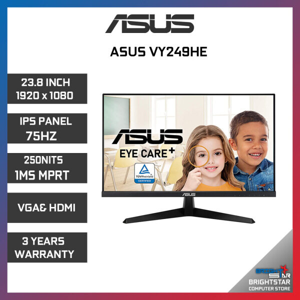 Monitor Pc ASUS VY249HE ( 23.8 / 1920 x 1080 / IPS / 75HZ / 250NITS / 1MS MPRT / VGA & HDMI / 3 Years Warranty ) Malaysia