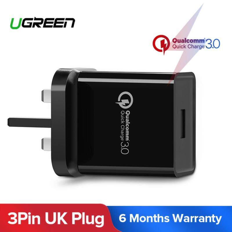 {Free Charging Cable}UGREEN Qualcomm Certified Quick Charge 3.0 18W USB Wall Charger Phone Fast Charger - Black,UK Plug
