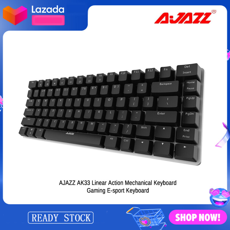 AJAZZ AK33 Linear Action Mechanical Keyboard Gaming E-sport Keyboard 82 Keys Black Switches USB Wired Anti-Ghosting for PC Notebook Laptop Desktop No Backlight(Black) Malaysia
