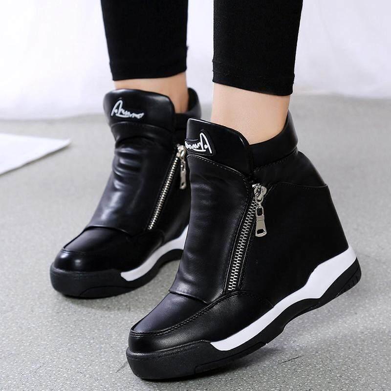 Gaya Korea Sepatu Golden Goose 8 cm ritsleting Sepatu Engkel Tinggi perempuan 2018 musim gugur musim dingin Tambah beludru sepatu lapisan tunggal sepatu wanita hak wedges pariwisata sepatu kasual