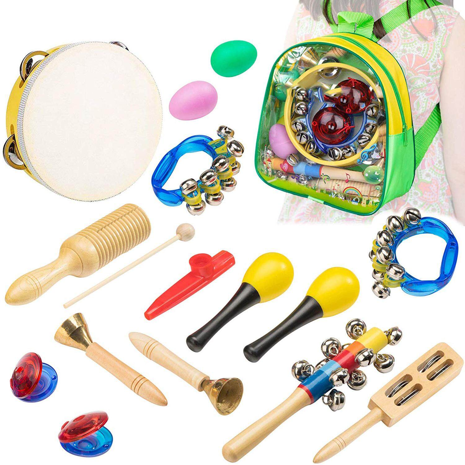 Musical Instrument Toys For Kids - 15 Pcs Percussion Set For Toddlers Preschool Educational Learning Musical Toys Including Tambourine Bells Shakers Kazoo With Storage Backpack By Ycitc.