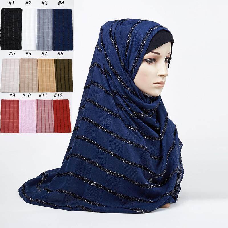 Cincin Bergaris Katun Linen Selendang Syal untuk Wanita Muslim Jilbab Pashmina Jilbab Bawal Arab Sorban WJ432