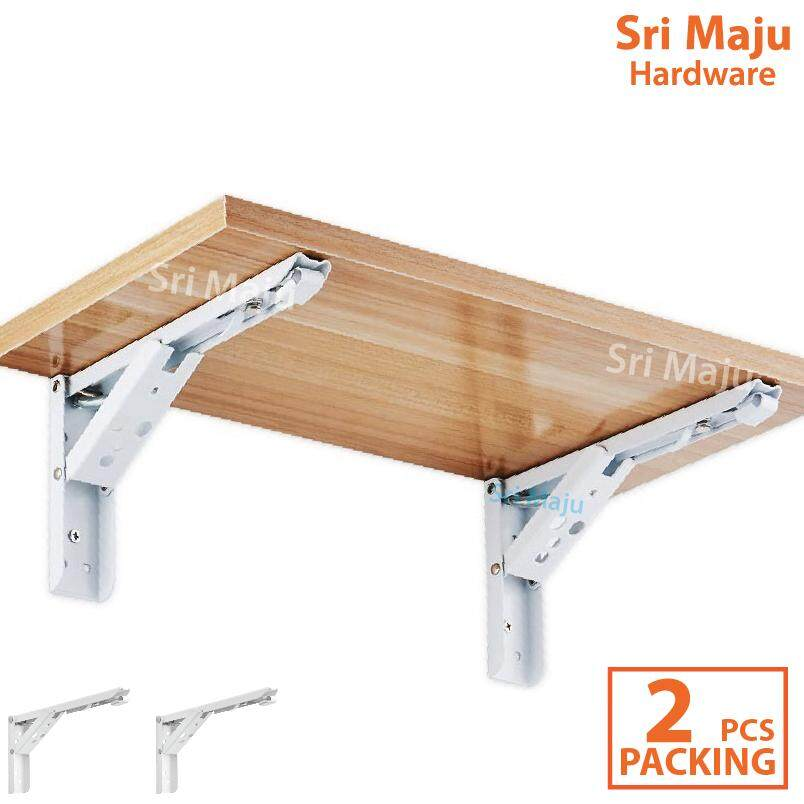 Maju Folding Wall Shelf L Bracket With Spring Wall Mount Rack Support Iron L By Sri Maju Hardware.