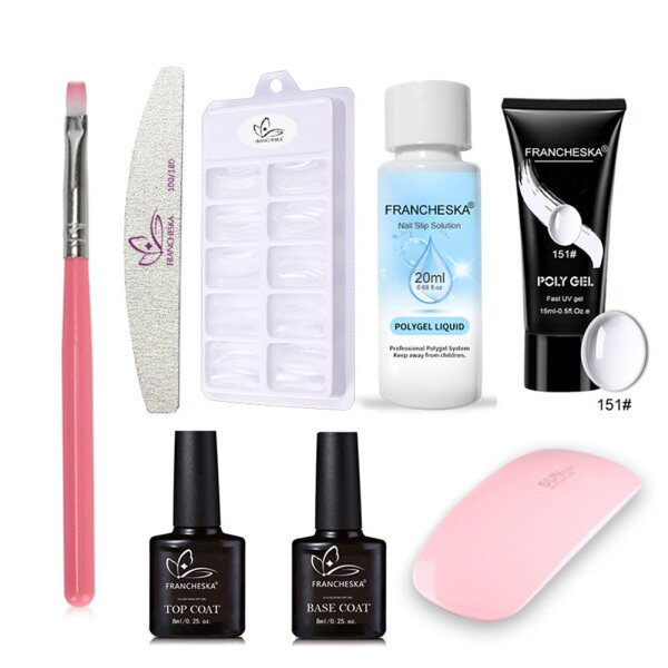 Buy Gel Nail Extensions Kit Poly Builder UV Gel Set Poly Extension Gel Kit Finger Nail Extension Art Tools Set with Cleaning Solution and Others Singapore