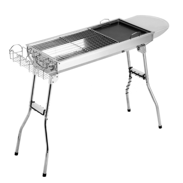Stainless Steel Full Set Barbeque Portable Folding Charcoal BBQ Grill With Basket/Board/Fry Pan