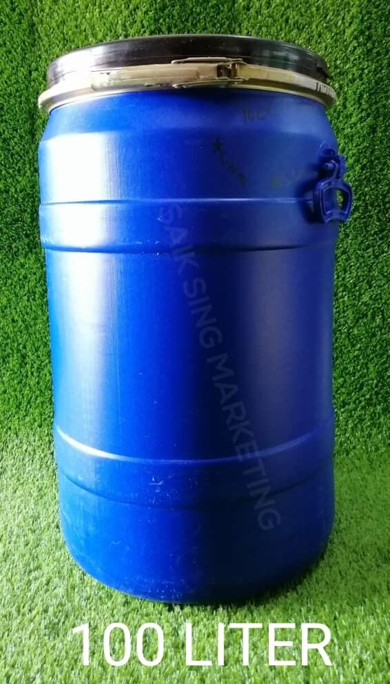 100 Liter Tong Drum Plastik Biru Bertangkai Plastic Blue Drum