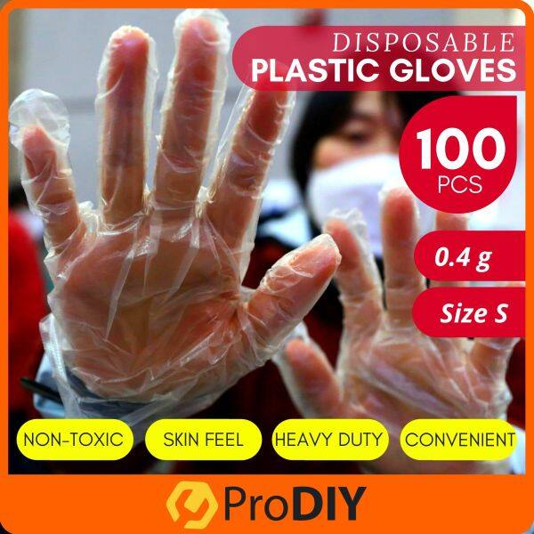 100 PCS Clear Transparent Disposable HDPE Plastic Gloves Glove One Size Fits Most Food Safe Handling Hygiene Virus Sarung Tangan