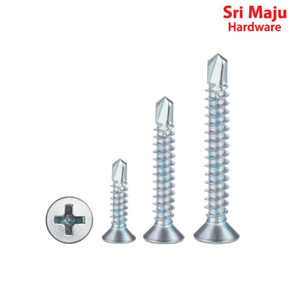 MAJU Quality SD-Flat Self Drilling Screw Flat Head Sheet Metal Aluminium Awning Drill Screw Skru Tebuk Bumbung Besi