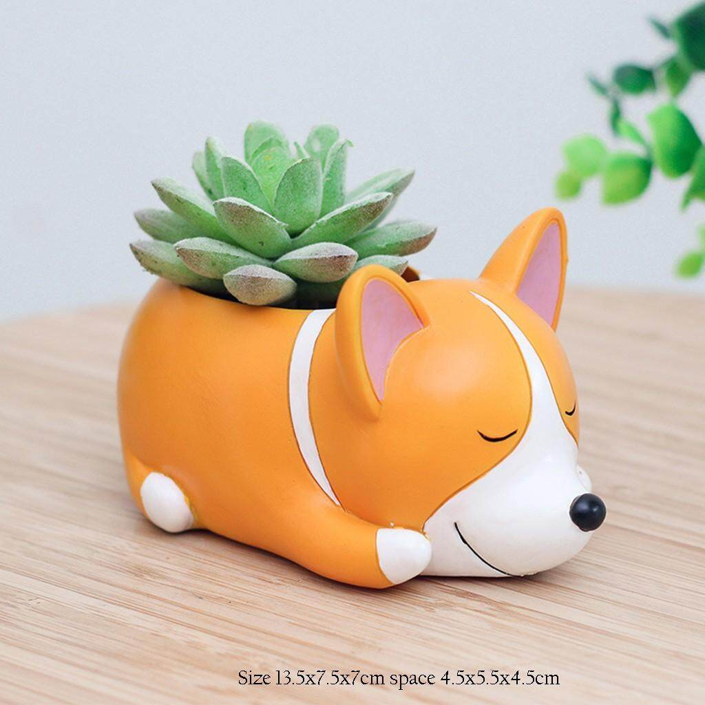 Beautiful island Lovely Corgi Dog Shaped Plant Decor Succulent Plants Decorative Flower Pot High quality embossed hand-painted creative basin for garden home Decor