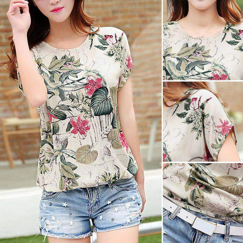 bad834dc2ec Summer Girls Chiffon Short Sleeve Tops Floral Printted Casual O-Neck T-Shirt  Tops