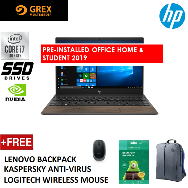 HP ENVY 13-AQ1069TX LAPTOP (I7-10510U,16GB,512GB SSD,13.3 FHD TOUCHSCREEN,NVIDIA MX250 2GB,WIN10) FREE BACKPACK +KSPSKY ANTI-VIRUS +LOGITECH WIRELESS MOUSE + PRE-INSTALLED OFFICE H&S 2019 Malaysia