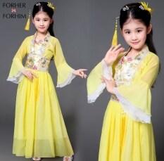 Váy Công Chúa FORHER FORHIM Cho Trẻ Em, Váy Biểu Diễn Guzheng Cổ Tích Màu Đỏ Vàng Hồng Trang Phục Nhà Đường Trung Quốc Đầm Công Chúa Phong Cách Trung Quốc Đầm Bé Gái FHKE200361