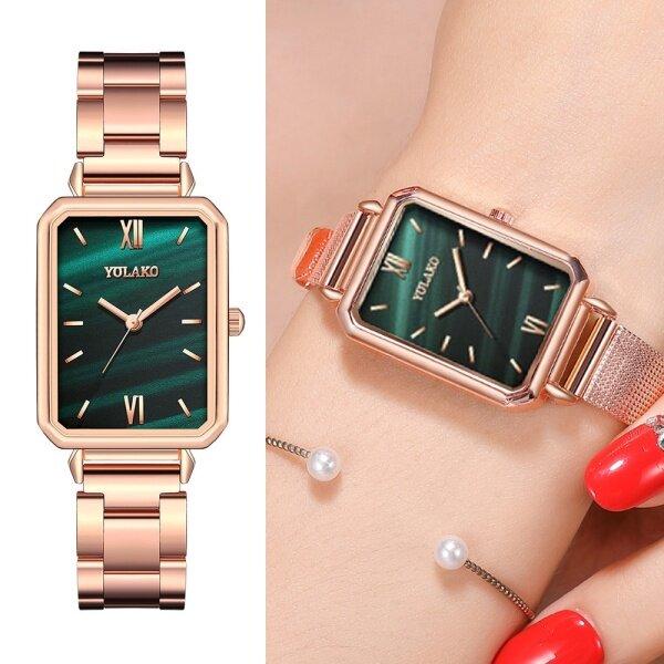 Ready Stock Angle_Love Jam Tangan Wanita Rectangle Green Marble Dial Roma Watches Ladies Stainless Steel Quartz Wrist Watches Malaysia