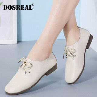DOSREAL Giày Oxford Nữ, Giày Đế Bằng Da Cho Nữ Giày Đế Bệt Hàn Quốc Thời Trang Giày Trắng Buộc Dây, Giày Nữ thumbnail