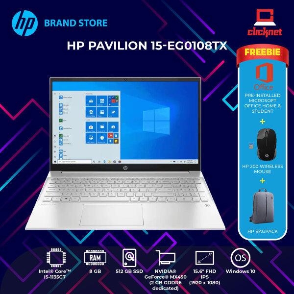 HP PAVILION 15-EG0108TX LAPTOP (I5-1135G7,8GB,512GB SSD,15.6 FHD,MX450 2GB,WIN10) FREE BACKPACK + OPI Malaysia