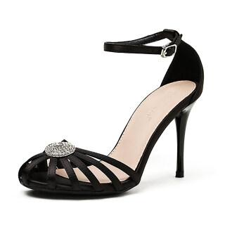 Womens Stilettos Ankle Strap Round Toe Cut Out Dress Pump Heel Sandals thumbnail