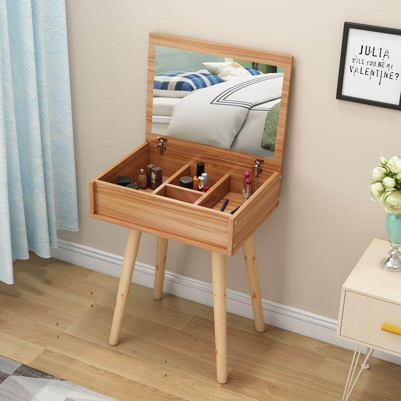 50x40x73cm, Dressing Table, Solid Wood European Bedroom Dressing Table,HD Folding Mirror, Seperated Drawer