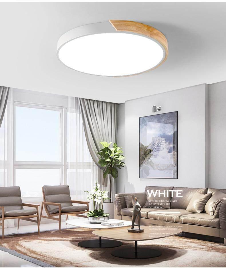 40cm/24W Nordic Led Ceiling Lamp Wood Living Room Lamp Modern Round Bedroom Study Lighting Macarons Childrens Lamps