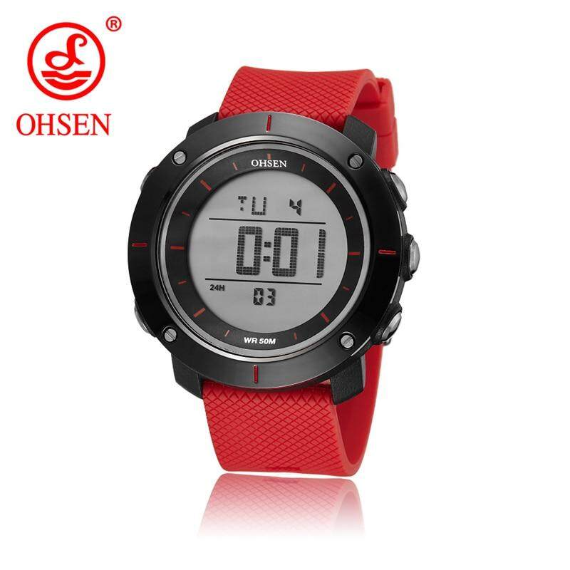 New OHSEN Brand Women Sport Watch Digital LED Ladies Fashion Wristwatches Passion Red Rubber Strap 50M