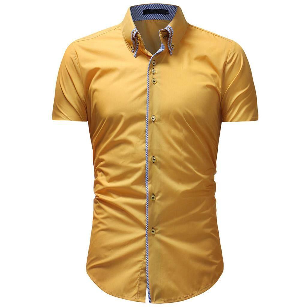 b31e481919a Watsonshop Men s Solid Casual Button Down Short Sleeve Shirt Top Blouse hot  sale