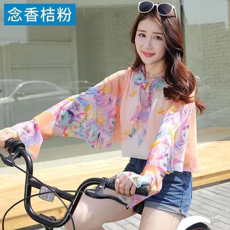 Khăn Choàng Chống Nắng Áo Voan Mỏng Mùa Hè Cho Nữ Áo Ngắn Khăn Choàng Biker Cho Nữ Găng Tay Dài Tay Phong Cách Bên Ngoài Cho Nữ
