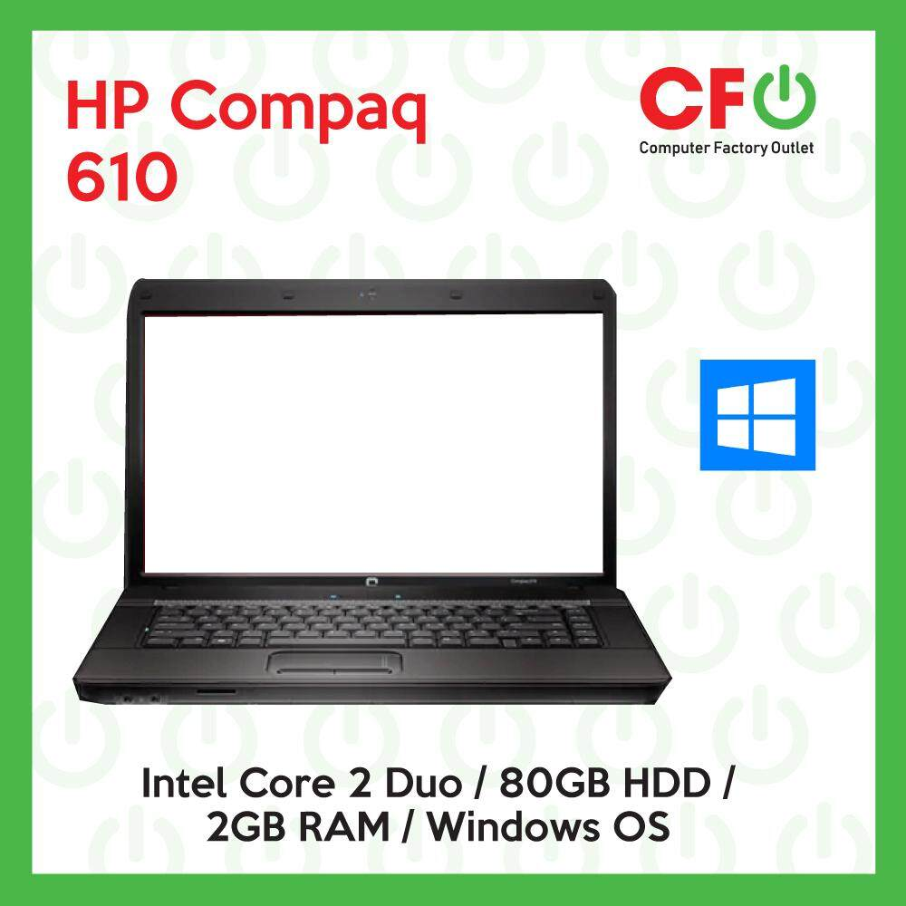HP Compaq 610 / Intel Core 2 Duo / 2GB RAM / 80GB HDD / Windows OS Laptop / 1 Month Warranty (Factory Refurbished) Malaysia