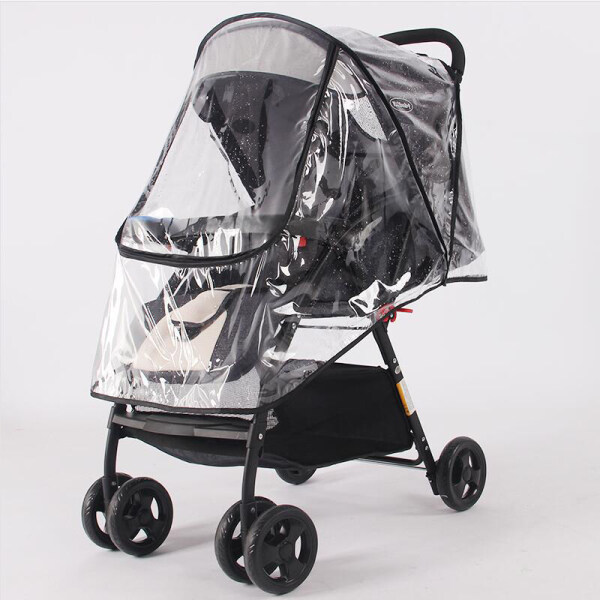 Baby stroller accessories waterproof rain cover transparent windproof dust cover baby stroller raincoat Singapore