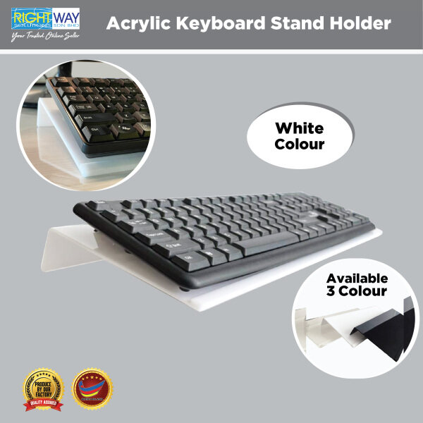 White Acrylic Computer Keyboard Stand for Easy Ergonomic Typing, Office / Home / School(H4cm x W16cm x L43cm) Malaysia