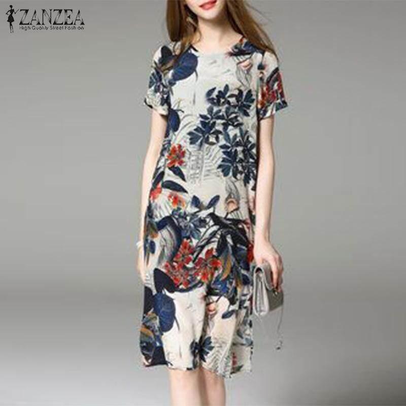 ZANZEA Womens Floral Round Neck Short Sleeve Tunic Shirt Party Maxi Dress Plus Size