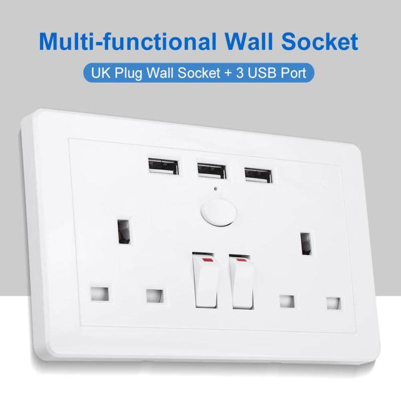 Multi-functional UK Plug Electric Wall Power Outlet Socket with 3 USB Port AC 110~250V