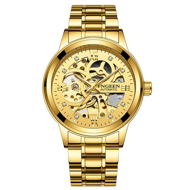 WH FNGEEN men luxury skeleton automatic mechanical winding watches gold Stainless steel waterproof wristwatch time male hours 8866G Malaysia