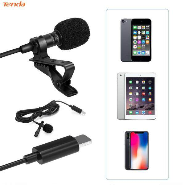 〔Tenda 〕 Lavalier Microphone Condenser Lapel Clip Mic with Bag for iPhone X 8 7