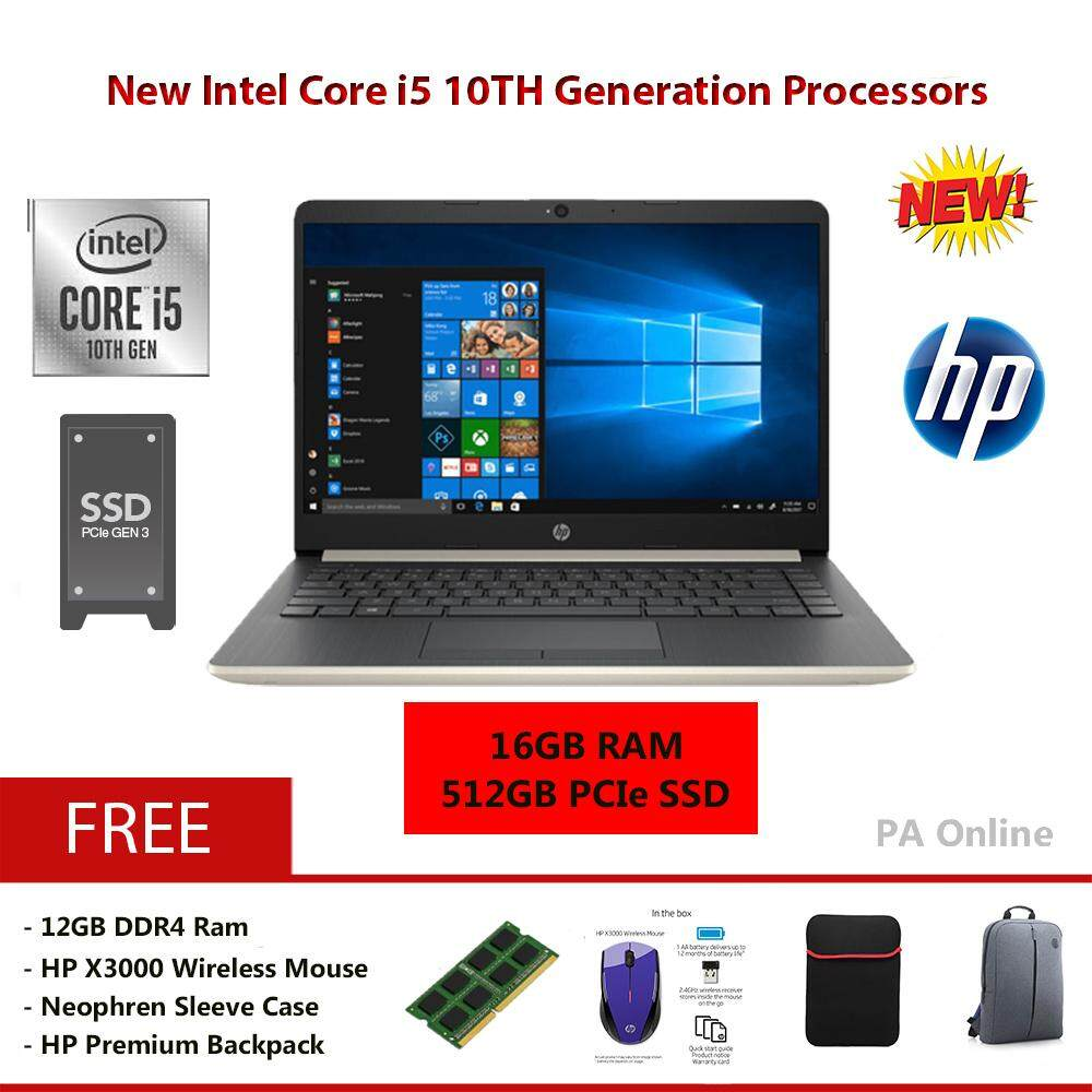 HP 14s-Cf2002TX (16GB RAM)- Intel Core i5-10210u /16GB DDR4 Ram /512GB PCIe NVMe M.2 SSD /14  FHD LED /2GB AMD Radeon 530 /Win 10 /2 Years Malaysia