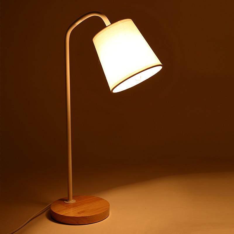 QUKAU bedroom bedside lamp desk E27 bulb student dormitory LED table lamp children retro wooden art night light