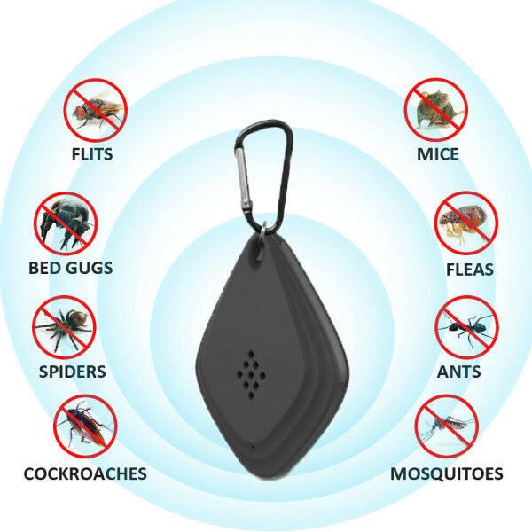 Laztalk-Máy Đuổi Muỗi Ngoài Trời Siêu Âm Di Động Máy Đuổi Côn Trùng Năng Lượng Mặt Trời Micro USB Sạc Điều Khiển Tần Số Thông Minh Kiểm Soát Gián (Đen/Trắng)